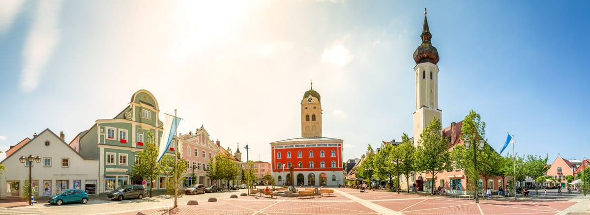 Panorama Ansicht Marktplatz Erding