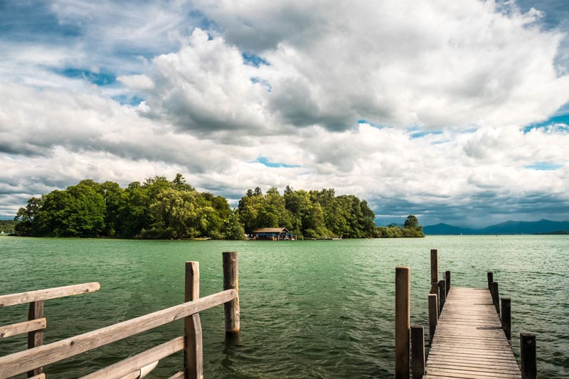 Rose island Starnbergersee in summer